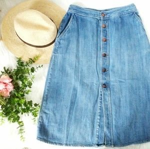 Mossimo Button Down Denim Jean Midi Skirt 4/Medium